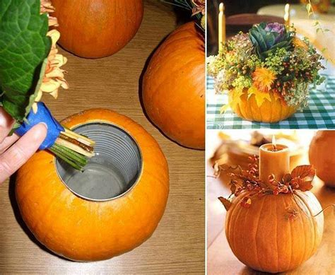 Pumpkin With Flowers Centerpieces How To Make A Pumpkin Vase Centerpiece Blog Noshon It