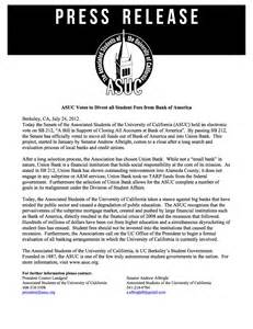 press release asuc votes to divest all student fees from