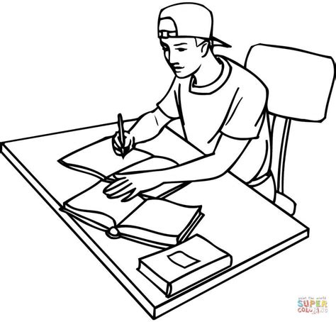 boy writing coloring page teenager boy student studying with writing books on the