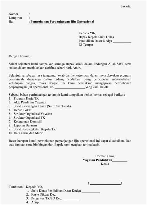 berikut ini contoh surat permohonan perpanjangan izin