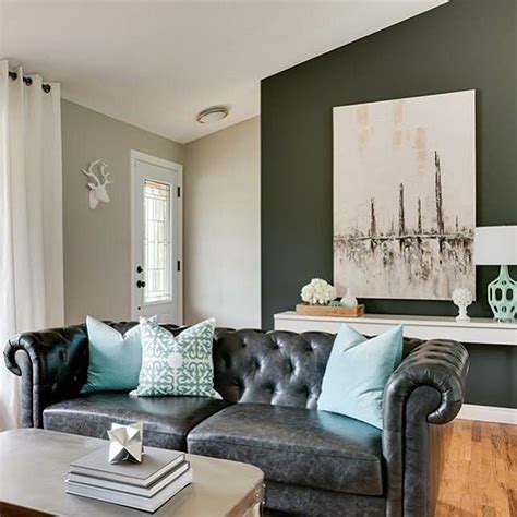 Turquoise And Black Living Room - black leather chesterfield sofa with turquoise pillows