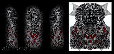 celtic quarter sleeve tattoo designs celtic style half sleeve by shepush deviantart com on