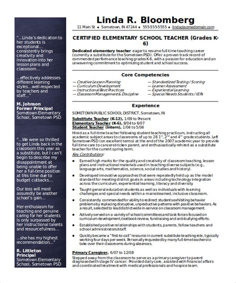 50 teacher resume templates pdf doc free premium