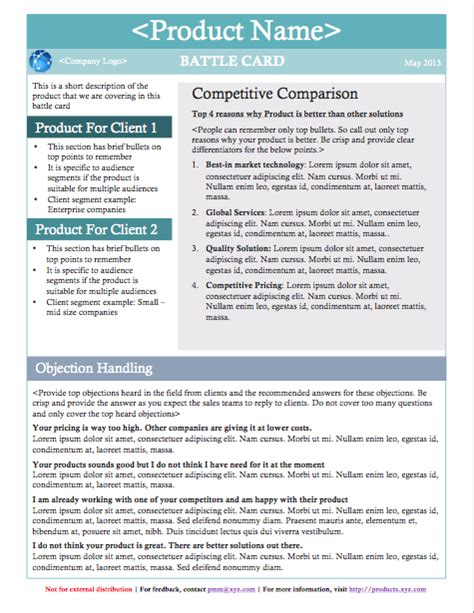 Battle Cards And Why Not Competitive Battlecard Template