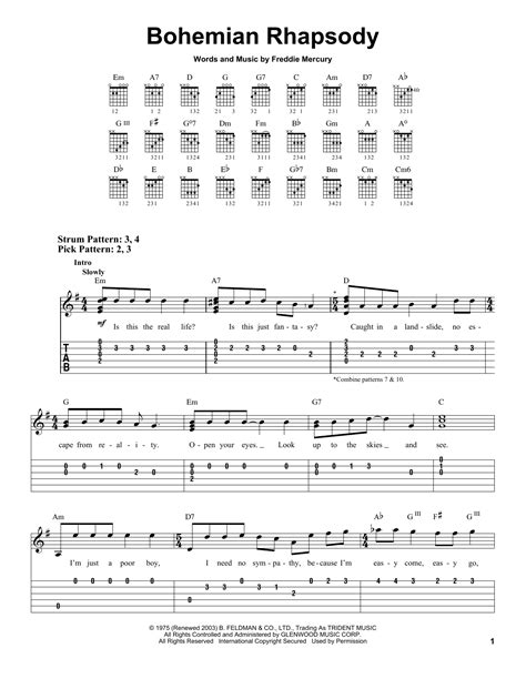 tutorial guitar bohemian rhapsody bohemian rhapsody sheet music by queen easy guitar 21874