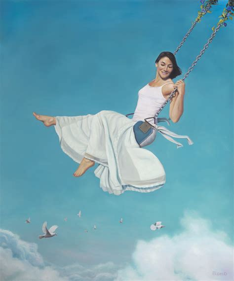 lady on swing painting magical realism art images