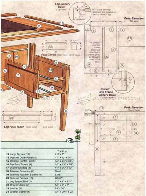arts  crafts desk plans woodarchivist