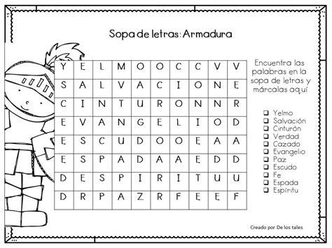 sopa de letras de la armadura de dios sopa de letras la armadura de los tales