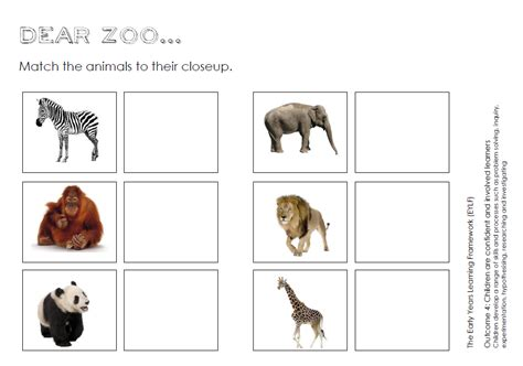 printable zoo animal matching game dear zoo play ideas and printables for preschool you