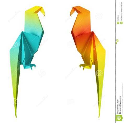 Origami Macaw Parrot - origami parrot stock photo image of blue animal color