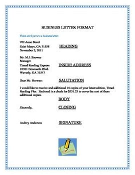 Business Letter Inside Address Business Letter Format This Business Letter Format Shows That There Are 6 Parts To A Business