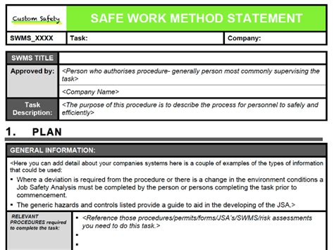 safe work method statement portrait