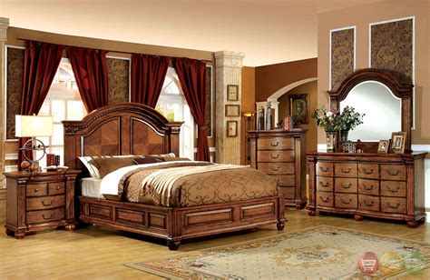 bellagrand luxurious antique tobacco oak bedroom set with