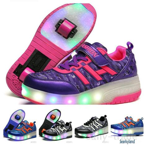 roller skate retractable wheels led light shoes boys