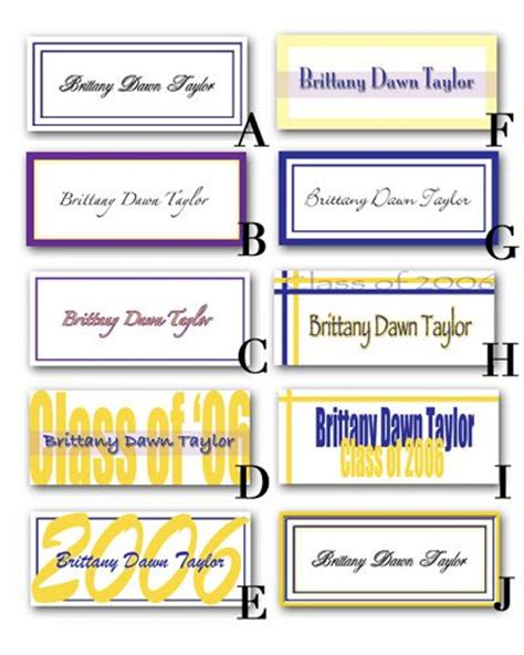 graduation name card template excel make your graduation and name cards on