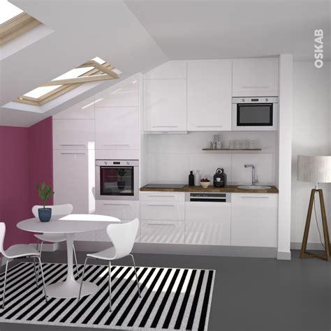 tapis plan de travail cuisine cuisine blanche moderne fa 231 ade stecia blanc brillant