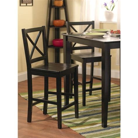 Virginia Cross Back Stool 24 Set Of 2 Espresso by Virginia Cross Back Counter Stools 24 Quot Set Of 2 Black