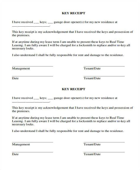 39 Free Receipt Forms Sle Templates Key Agreement Template