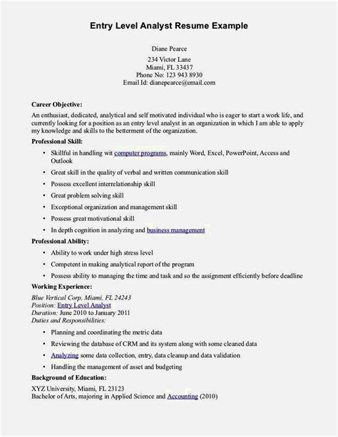 Entry Level Accounting Resume Sle Resume Template Cover Letter Entry Resume Template