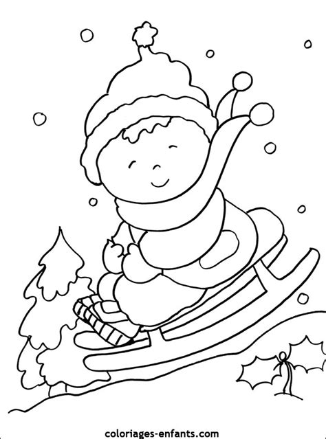preschool winter colouring page winter kleurplaat slee