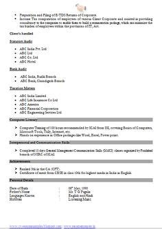 Resume Sles For Chartered Accountants chartered accountant resume format freshers page 2 cv