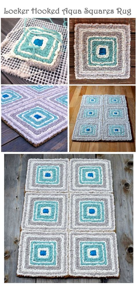 Rug Hooking With Fabric Strips by Locker Hooked Aqua Squares Rug In Wool Roving Color