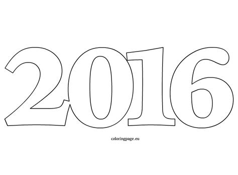 new year color page 2016 number 2016 coloring page