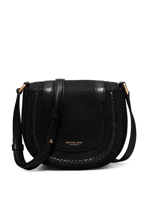Small Black Leather by Michael Kors Skorpios Small Leather Crossbody Bag In Black