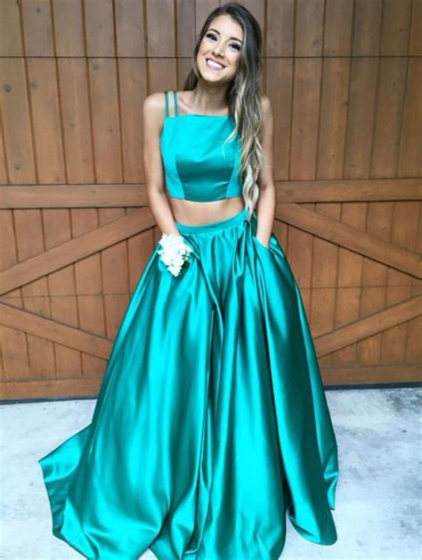Two Dress Green Import two straps green prom dress gown