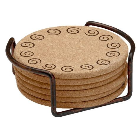 drink coaster swirls cork beverage coasters with steel holders set of