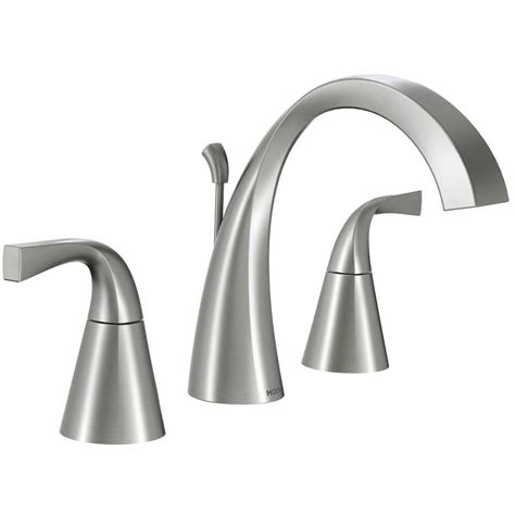 moen brushed nickel bathroom faucet shop moen oxby spot resist brushed nickel 2 handle