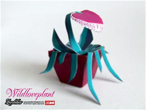 Origami Venus Fly Trap - wildloveplant papercraft happy valentines day