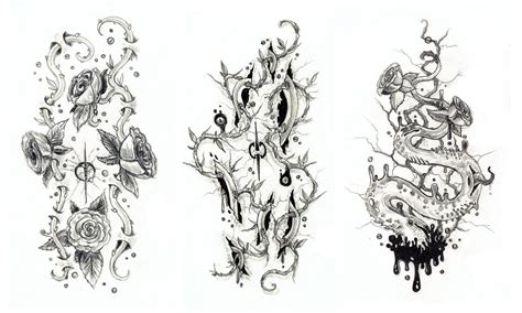 roses and veins tattoos concepts by ionicsquidgenerator on