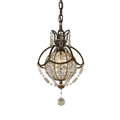 Small Chandelier Lights Small Globe Chandelier Oxidised Bronze With Antique Drop