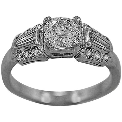 1920s antique 75 carat platinum engagement ring