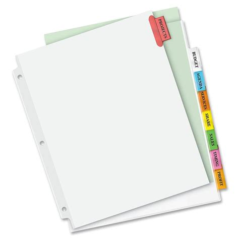 Avery Big Tab Dividers Template by Avery Big Tab Inserts For Dividers 8 Tab Template 28
