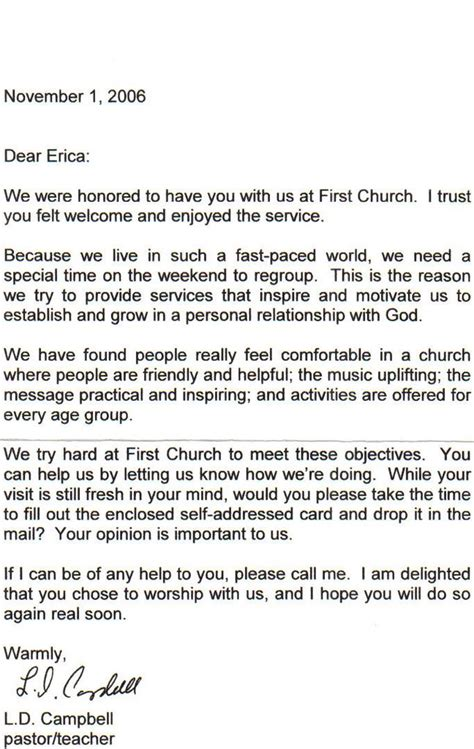church welcome letter template church visitor thank you letter