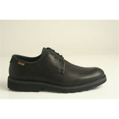 pikolinos pikolinos soft black leather lace up shoe with