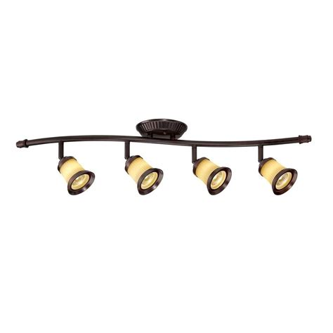 Track Light Fixture Hton Bay 4 Light Antique Bronze Directional Led Track Lighting With White Glass Shades