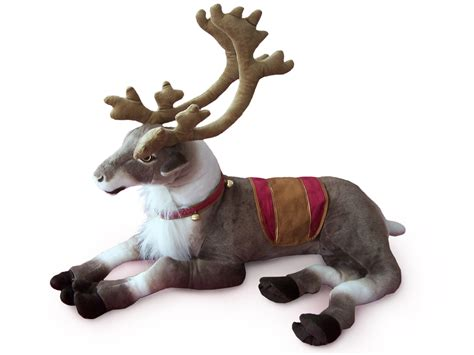 stuffed animal 18 inch plush laying reindeer with bells plush