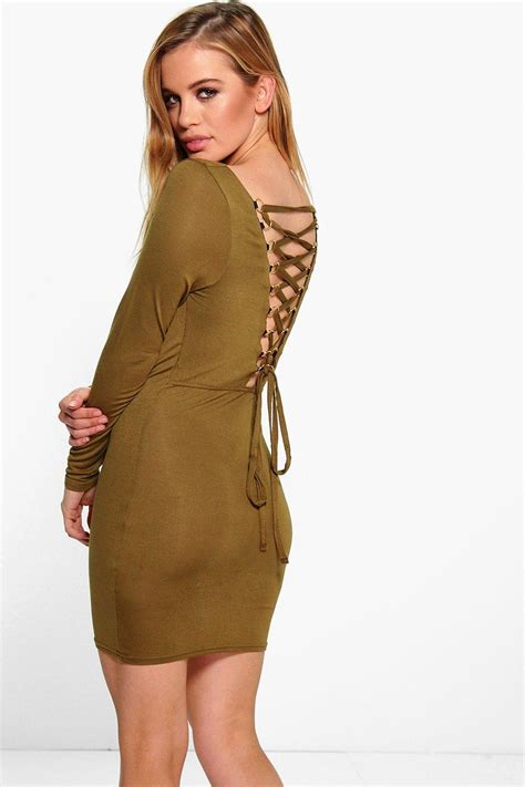 For St In A Back Lace Up Detail Tunic by Boohoo Womens Cara Lace Up Back Detail Bodycon