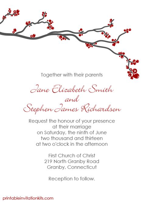 printableinvitationkits com winter berry invitation wedding invitation templates