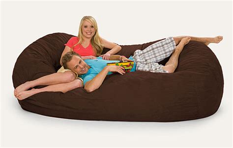 oval brown 8 foot microfiber and memory foam bean bag