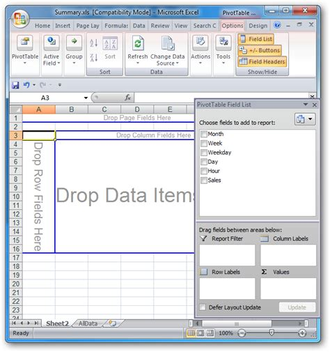 format report pivot table excel 2007 how to create a pivot table in excel 2007