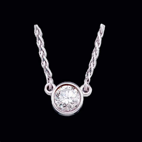 solitaire white gold necklace