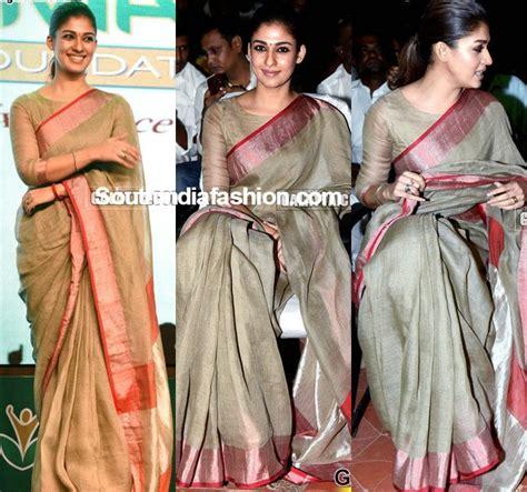 nayanthara boat neck blouse designs nayanthara in a zari kota saree south india fashion