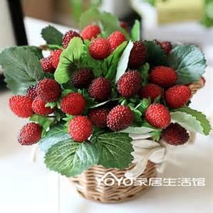 Strawberry Home Decor Real Wicker Round Storage Basket Vase With Strawberry