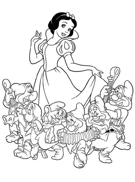 snow white and the seven dwarfs coloring pages www