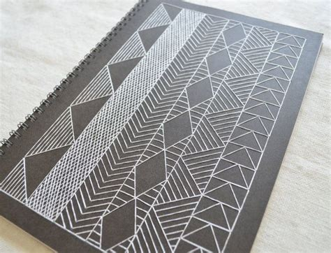 pattern geometric spiral large african inspired notebook geometric embroidered