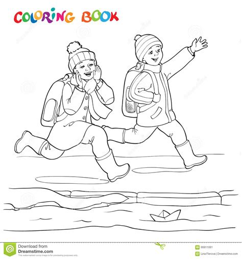 coloring book paper stock coloring book or page two joyful boys running along the